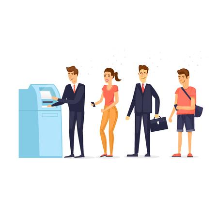 Wachtrij naar geldautomaat. Vlakke ontwerp vectorillustratie. Stock Illustratie