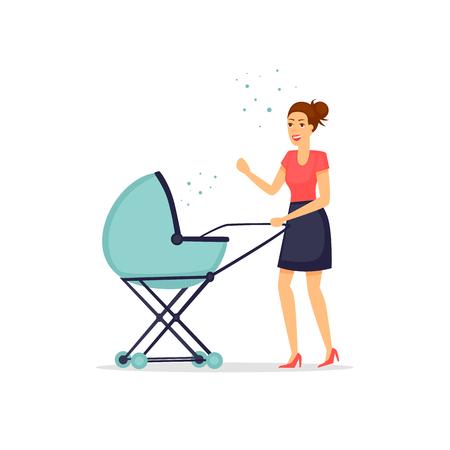 Giovane madre con un bambino in un passeggino. Illustrazione vettoriale piatto in stile cartone animato. Archivio Fotografico - 79168432