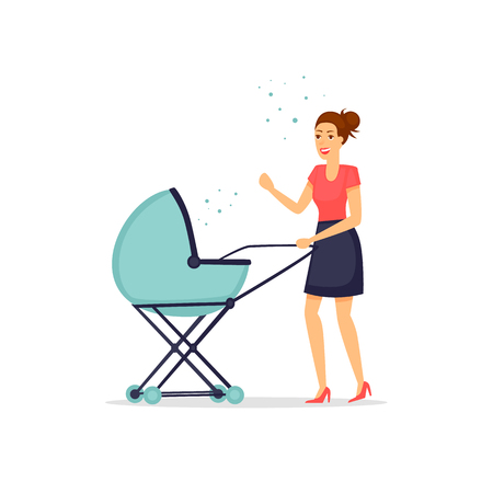 Young mother with a baby in a stroller. Flat vector illustration in cartoon style.
