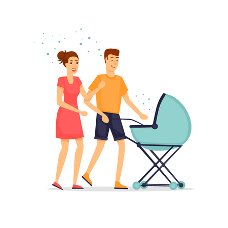 Young parents with a baby in a stroller. Flat vector illustration in cartoon style. Illustration