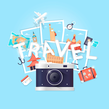 holiday vacation: Camera. World Travel. Planning summer vacations. Holiday, journey. Tourism and vacation theme. Poster. Flat design vector illustration. Illustration