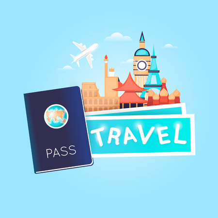 World Travel. Passport with tickets. Planning summer vacations. Holiday, journey. Tourism and vacation theme. Poster. Flat design vector illustration. 向量圖像