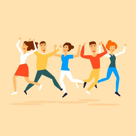 Happy people jumping. Flat design vector illustration. Illustration