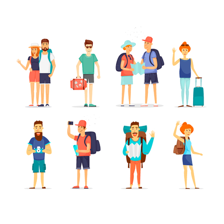 People and couples traveling. Character design. Flat design vector illustration.