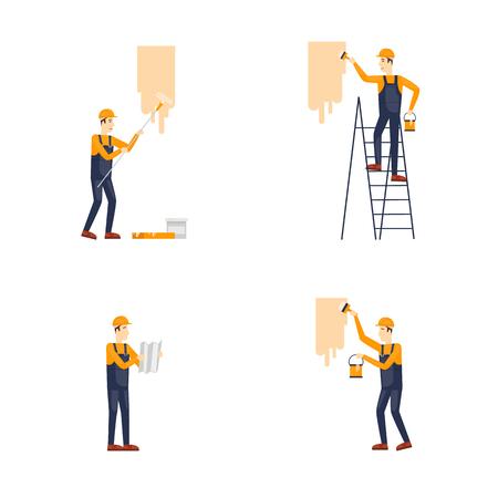 Repareren, schilderen, constructie. Bouwers op het werk. Vector illustratie plat ontwerp.