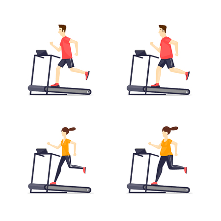 young adult man: Young adult man, girl running on treadmill, sport, fitness, athletics, healthy lifestyle. Fat and thin. Cartoon. Vector illustration flat design.