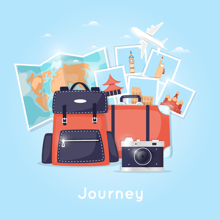 map case: World Travel. Backpack. Planning summer vacations. Holiday, journey. Tourism and vacation theme. Poster. Flat design vector illustration.