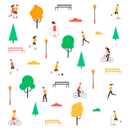 Summer people in the park. Flat design vector illustration.