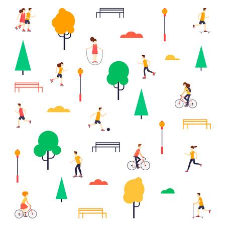 Summer people in the park. Flat design vector illustration.