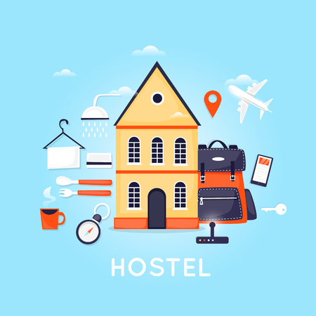 Hostel building facade. Budget low cost travel. Planning summer vacations. Holiday, journey. Tourism and vacation theme. Poster. Flat design vector illustration.