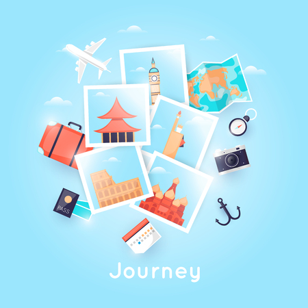 Wereldreis. Foto. Zomervakanties plannen. Vakantie, reis. Toerisme en vakantiethema. Poster. Platte ontwerp vectorillustratie.
