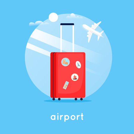 Travel suitcase at the airport. Flat design vector illustration. Illustration