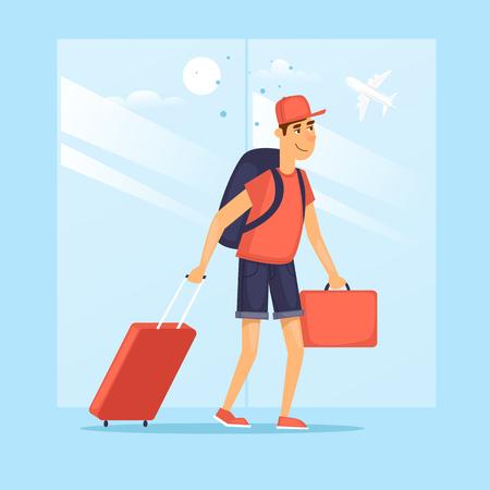 空港でスーツケースを持つ男。キャラクター デザイン。フラットのベクター イラストです。