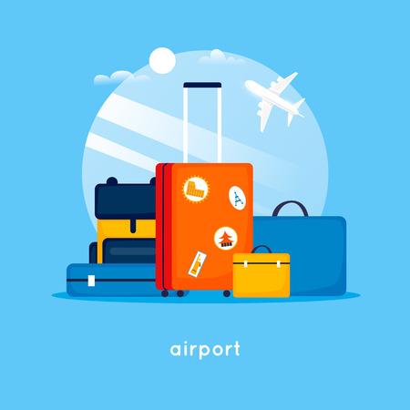 Reistassen op de luchthaven. Platte ontwerp vectorillustratie. Vector Illustratie