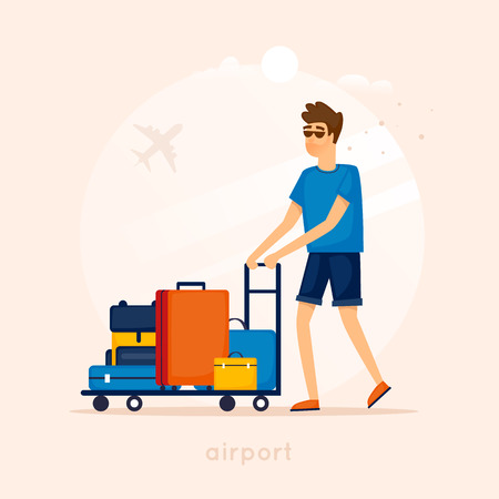 leaving: Guy at the airport with a cart and suitcases. Character design. Flat vector illustration. Illustration