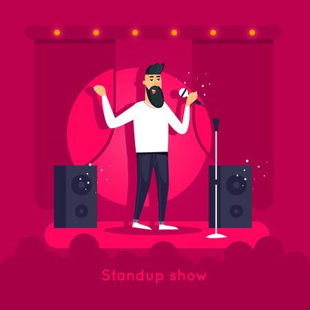Espectáculo de pie Guy está actuando en el escenario. Diseño de personaje. Ilustración vectorial plana.