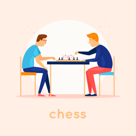 Play chess. Characters. Flat design vector illustration. Illustration