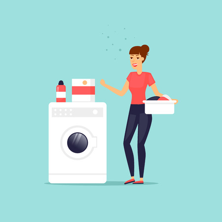 dirty clothes: Woman housewife. Washing clothes. Characters. Flat design vector illustration. Illustration