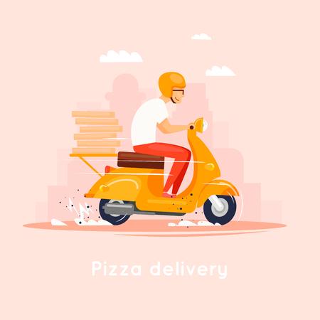 Bezorging, de man op de bromfiets heeft pizza bij zich. Karakters. Platte ontwerp vectorillustratie.