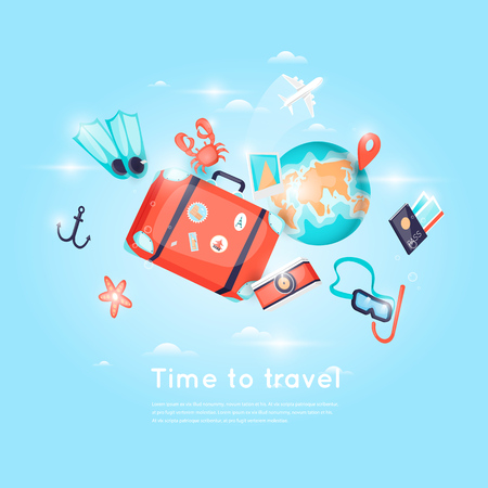 holiday vacation: World Travel. Planning summer vacations. Holiday, journey. Tourism and vacation theme. Poster. 3D. Flat design vector illustration. Illustration