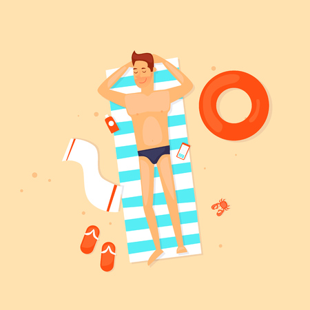 Guy are lying on the beach. Flat vector illustration in cartoon style.