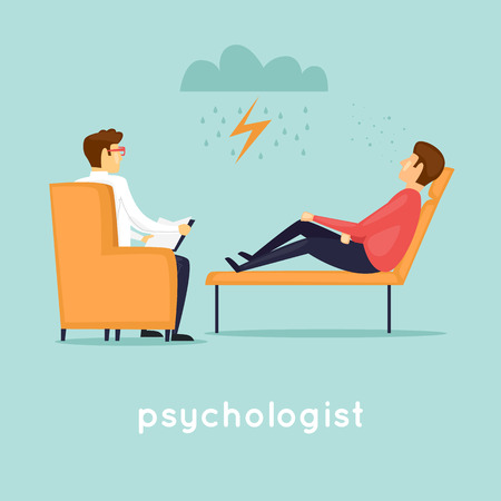 Psychologist at the reception. Flat vector illustration in cartoon style. Stock Illustratie