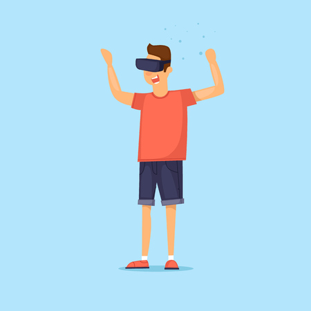 Guy in virtual reality. Flat vector illustration in cartoon style.