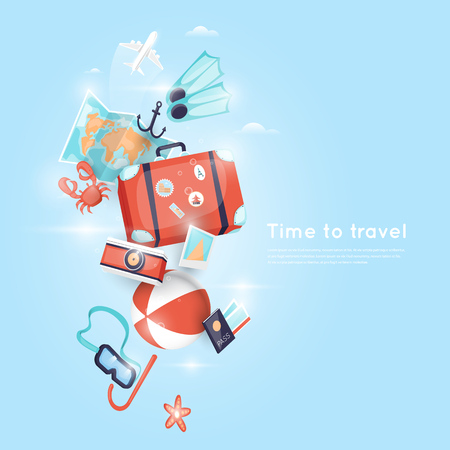 flat earth: World Travel. Planning summer vacations. Holiday, journey. Tourism and vacation theme. Poster. Flat design vector illustration.