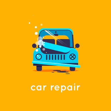 mot: Car repair. Flat vector illustration in cartoon style. Illustration