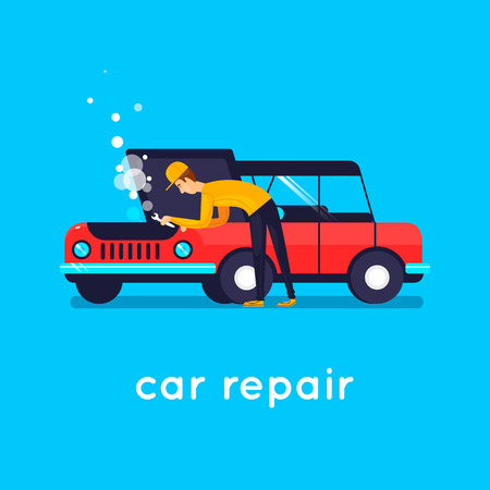 Car repair. Flat vector illustration in cartoon style. Ilustração