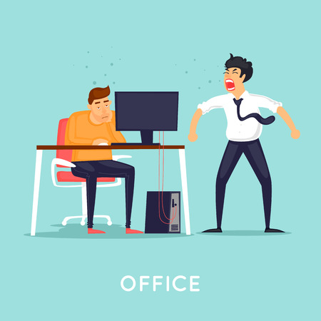 Boss screams at an employee. Flat vector illustration in cartoon style.