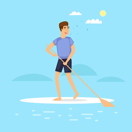 Guy is paddling on SUP. Flat vector illustration in cartoon style.