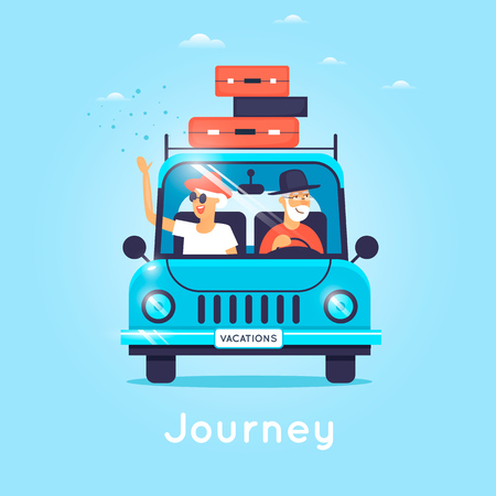 retirees: Old people are traveling by car. Flat vector illustration in cartoon style.