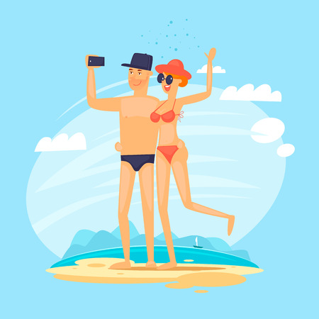 Guy and girl do selfie on the beach. Journey. Flat vector illustration in cartoon style.