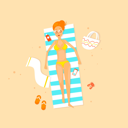 Girl are lying on the beach. Flat vector illustration in cartoon style.