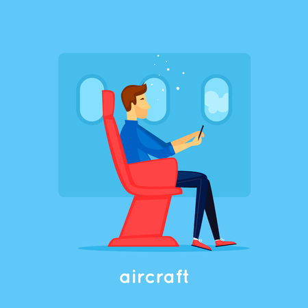 Guy is sitting on the plane. Flat design vector illustration.