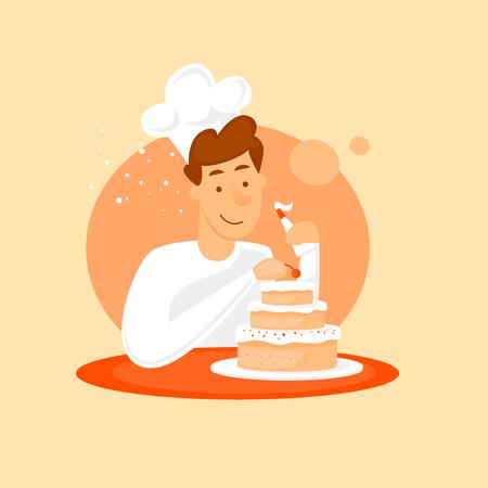 베이커 케이크 만들기입니다. 평면 디자인 벡터 일러스트 레이 션. 일러스트