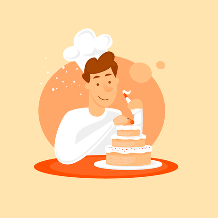 Baker making a cake. Flat design vector illustration. Ilustrace