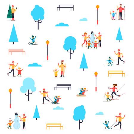 Gente de invierno en el parque. Ilustración de vector de diseño plano Foto de archivo - 80953147