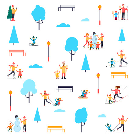 Winter people in the park. Flat design vector illustration.