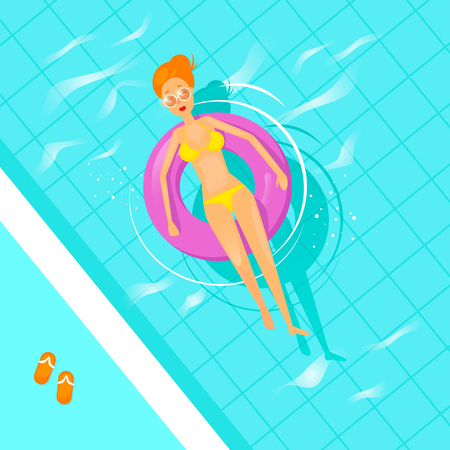 Girl swims in the pool on an inflatable mattress. Flat design vector illustration. Banco de Imagens - 80953146