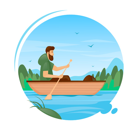 Guy swims by boat on the river, camping, summer. Flat vector illustration in cartoon style. Иллюстрация
