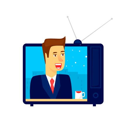 Nieuws op tv. Platte vectorillustratie in cartoon stijl.