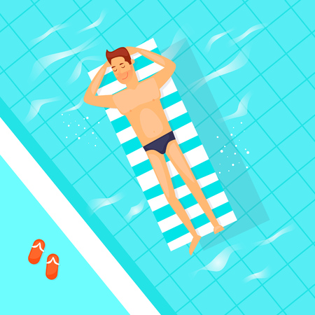 Man swimming on inflatable floats in the pool. Summer, vacation. Flat vector illustration in cartoon style. Stock Illustratie