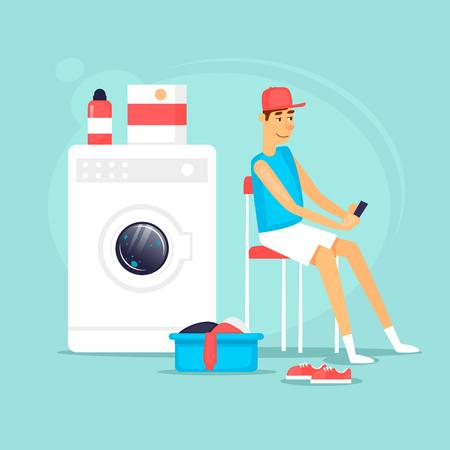 洗濯の終了を待っている彼の下着で男。フラット ベクトル イラスト漫画のスタイルで。  イラスト・ベクター素材