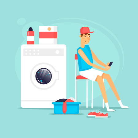 Guy in his underwear waiting for the end of washing. Flat vector illustration in cartoon style.