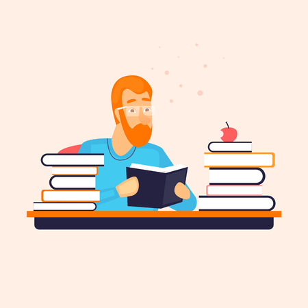 Library, guy reading a book. Character design. Flat vector illustration.