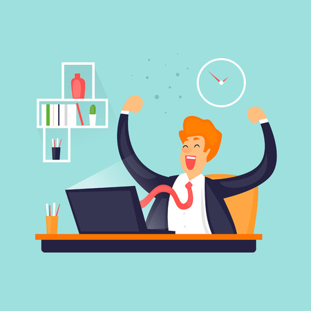 Businessman is happy in the office. Flat vector illustration in cartoon style. Vektorové ilustrace