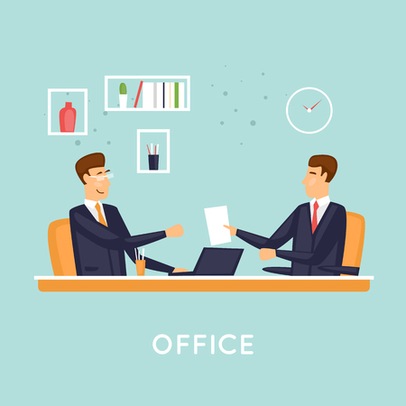 Businessmen in the office, meeting. Flat vector illustration in cartoon style.