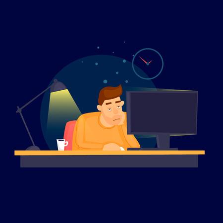 夜遅くまで事務所で働いてください。フラット ベクトル イラスト漫画のスタイルで。
